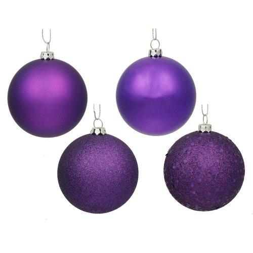 (Vickerman Passion 4-Finish Ornament Set, Includes 32 Per Box, 3-Inch, Purple)