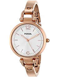 Fossil Womens ES3110 Georgia Three Hand Stainless Steel Watch - Rose Gold-Tone