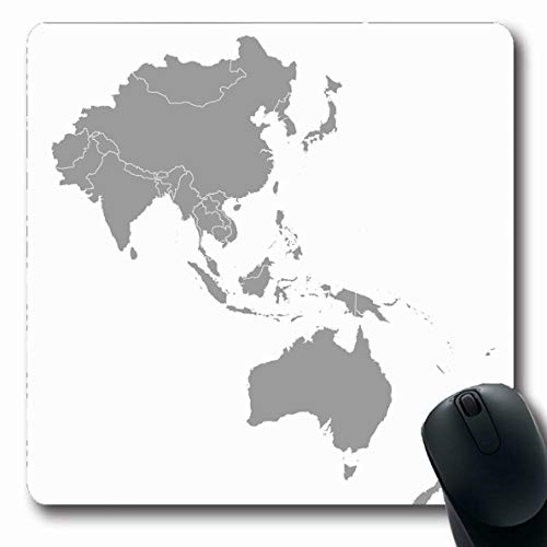 Ahawoso Mousepads for Computers Map Australia Asia Pacific Bangladesh Maldive Myanmar Pakistan Bhutan Brunei Design Oblong Shape 7.9 x 9.5 Inches Non-Slip Oblong Gaming Mouse Pad