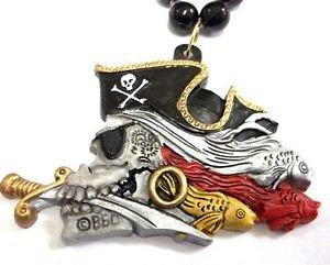 (Ghastly Pirate Skull Gasparilla Fish Black Red Mardi Gras Necklace Bead Beads)