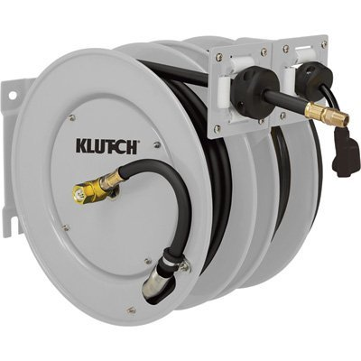 Klutch 25-Ft. Dual Hose Reel - With 3/8in. x 25ft. Air Hose and 14/3 AWG, 25ft. Electrical Cord