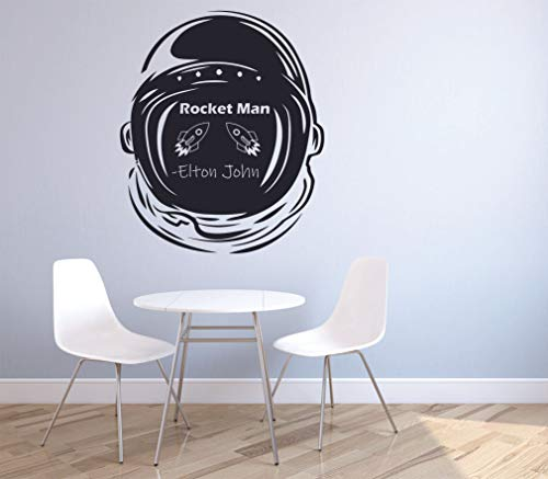 Elton John Rocket Man Wall Decals Music Icon Artist Song Lyrics Singer Musician Rock Pop for Boys/Girls Art Room Music Room Studio Home Bedroom Wall Art Vinyl Decals Decoration Size (10x8 inch)