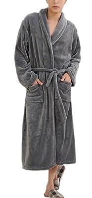 SexyTown Men's Soft Kimono Bathrobe Full Length Fleece Shawl Collar Spa Robe