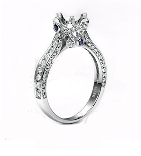 GOWE 6.3mm Round Cut 18k White Gold Natural 0.67ct Diamond Sapphire Semi Mount Ring