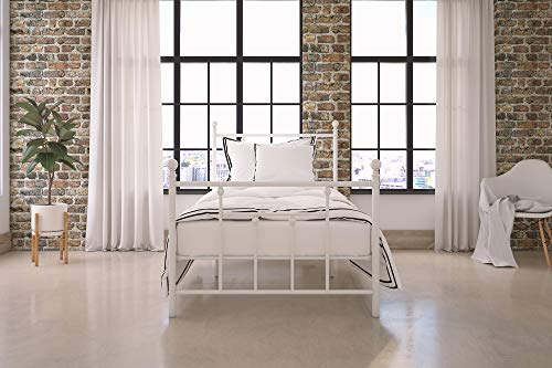 DHP Manila Metal Bed with Victorian Style Headboard and Footboard, Includes Metal Slats, Twin Size, White (Metal Antique Headboards)