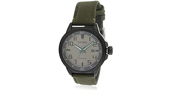 Citizen aw1465 - 14H Eco-Drive para Hombre Militar Verde Correa Color Beige Dial Reloj Deportivo: Amazon.es: Relojes