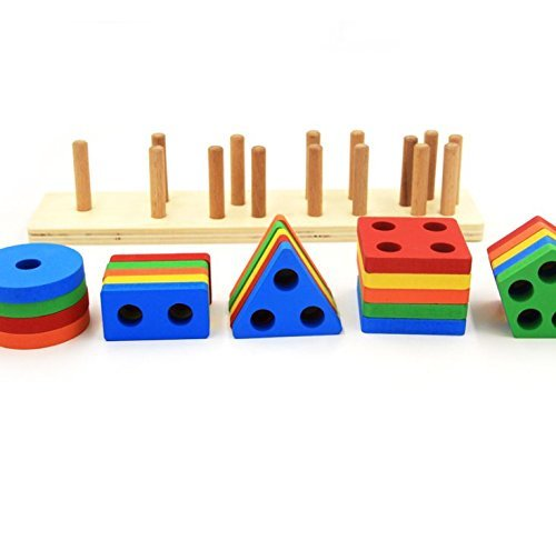 Revanak Wooden Educational Preschool Toddler Toys for 1 2 3 4-5 Year Old Boys Girls Shape Color Recognition Geometric Board Blocks Stack Sort Chunky Puzzles Kids Children Baby NON-TOXIC Toy by by Revanak (Image #2)