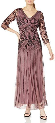 Pisarro Nights Women's 3/4 Sleeve Scroll Bead Dress