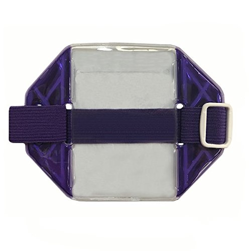 Promotional Badge Holder (Reflective Purple Armband Badge Holder, Purple Stretch Band White Buckle Fits 2 3/4