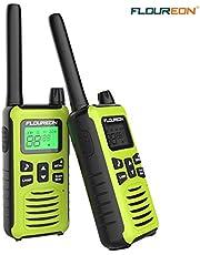 FLOUREON Walkie Talkies per Adulti Bambini,Ricetrasmittente Ricaricabile Interphone 2 Vie Radio Display LCD PMR 446MHZ per la Sopravvivenza di Campo in Bicicletta (1 Coppia, Verde)