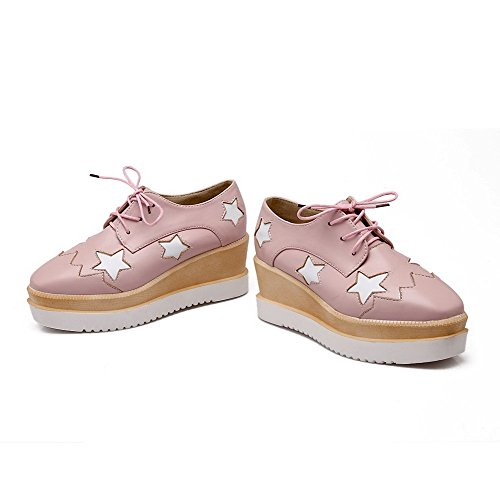 Heels Platform Square with Shoes Pumps Wedge PU Women's WeenFashion and Pink Toe Kitten q6Uttw