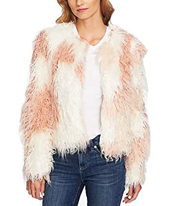 CeCe Women's Two-Tone Shaggy Faux-Fur Jacket - Multicolored - Medium Antique White