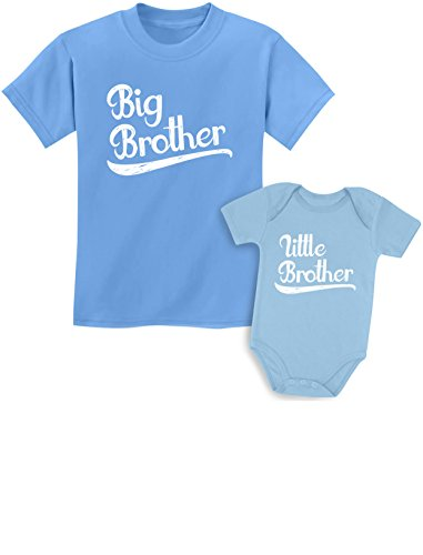 Sibling Shirts Set for Big Brothers and Little Brothers Boys Gift Set Kids Shirt California Blue/Baby Aqua Kids Shirt 5/6 / Baby 6M