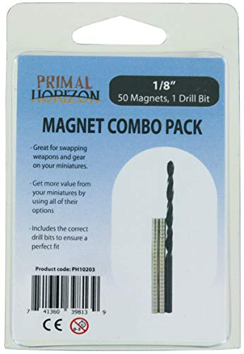Rare 0.125 Earth Magnets - Primal Horizon Magnets: 1/8'' x 1/16'' Magnets + Drill Bits Combo Pack