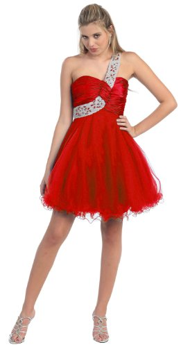 One Shoulder Cocktail Party Junior Prom Dress #709 (4, Red)