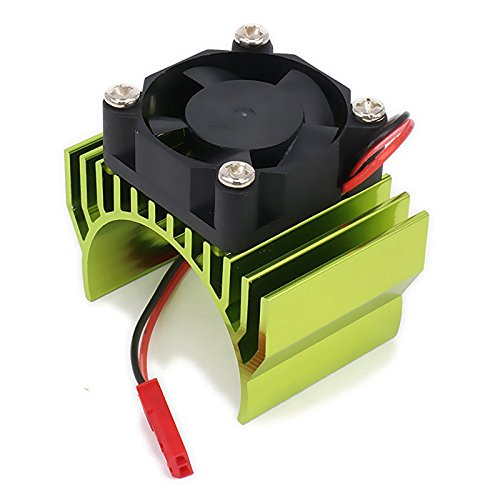 SODIAL(R) Heatsink Motor 540 550 with Fan Cooling Head Vent Top 6v JST Alloy Aluminum for 1/10 RC Hobby Model Car 1Pcs(Green) (Aluminum Heatsink Cooling Head)
