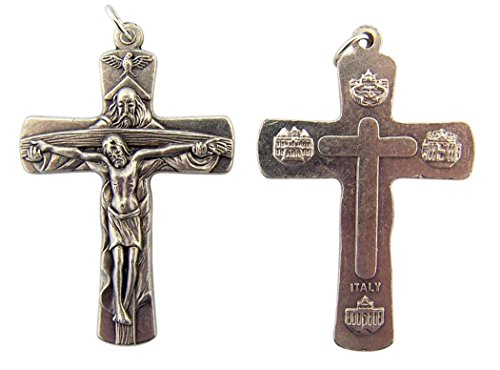 Silver Tone Holy Trinity God Holding Jesus Cross Crucifix Medal, Lot of 2, 2 ()