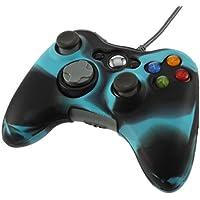 TOOGOO(R) Funda Cubierta de Silicona Anti-reflejo para Controlador Xbox 360 (negro+azul)