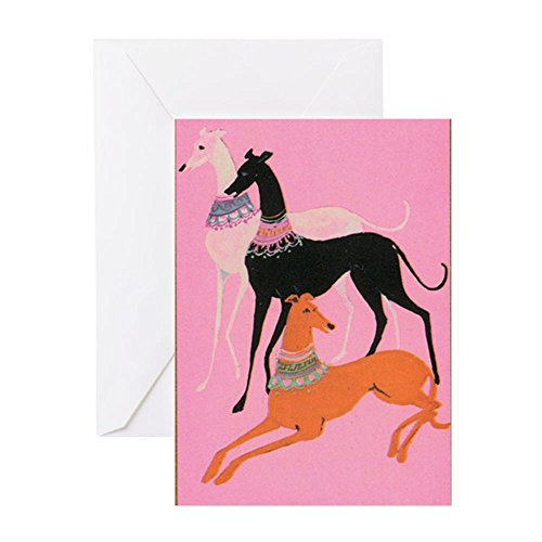 CafePress Greyhounds Art Deco Greeting Card, Note Card, Birthday Card, Blank Inside Matte
