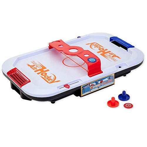 Bits and Pieces - Extreme Air Hockey Table Game - Classic Mini Arcade Game - Portable Tabletop Game for Kids, Teens, and Adults