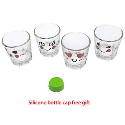 Korean Funny characters Soju Shot Glasses Set 1.7 oz, Korean Soju, whiskey, tequila, vodka, espressos, desserts, party decorations, Clear Glass, Set of 4 (Character Shot Glass) (Sigma Chi Shot Glass)