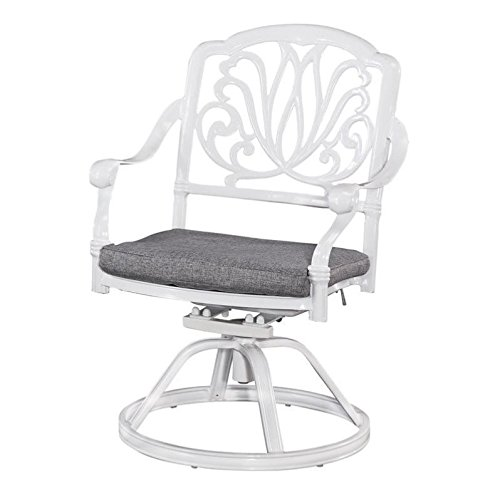 Home Styles 5562-53 Floral Blossom Outdoor Swivel Chair with Cushion, White