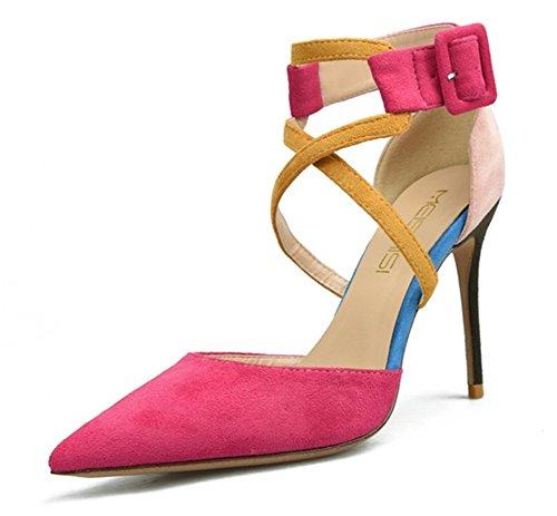 Del Rose Pie Vestir Puntiagudo Alto Zapatillas Paseo Club Señoras Dedo Estilete Nocturno Mujer Corte Zapatos Talones Sandalia Fiesta OYqXxwT