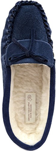 SNUGRUGS Ladies / Womens Suede Sheepskin Moccasins / Slippers with Wool Lining Navy yV9Bxv9b