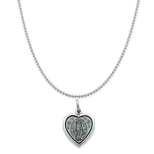 (Sterling Silver Rhodium-Plated Miraculous Heart Medal on a Sterling Silver Ball Chain Necklace, 20