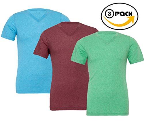 Iii V-neck - VISHTEA Men V-Neck Soft Fabric Body Fit Vneck Tshirt Gym Value Pack of 3