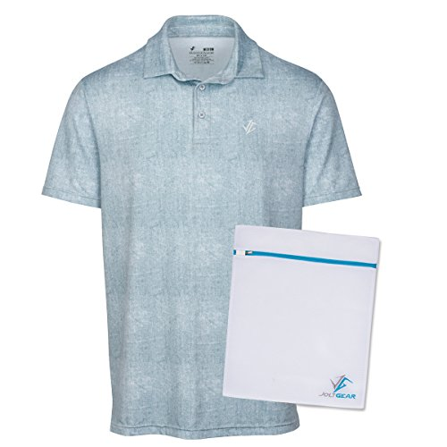 Jolt Gear, Men's Dry Fit Golf Polo Shirt, Athletic Short-Sleeve Polo Golf Shirts, White (Laundry Bag Included)