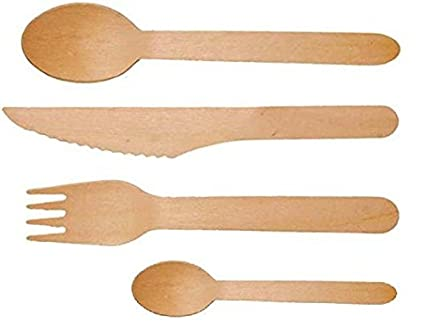 Disposable Wooden Cutlery 200 Pack Forks50 Knives50 Spoons50 And Tea Spoons50 Perfect Alternative For Plastic P206 200