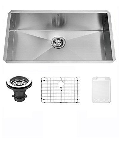 Angular Stainless Steel Kitchen Sink (VIGO VG3019BK1 Ludlow 30 Inch Undermount 16 Gauge Stainless Steel Single Bowl Handmade Kitchen Sink w/Grid, Strainer. Sound Minimizing Tech. Commercial Satin Finish. 30 inch L x 19 inch W x 10 inch D)