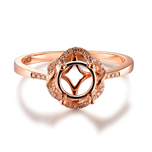 Semi Mount Ring 7mm Round 14K Rose Gold Round Natural Diamond Band For Women - Pave Semi Mount Ring