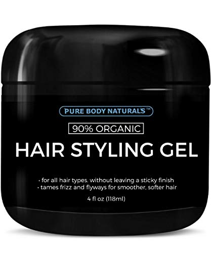 All Hair Natural Gel - Hair Gel for Men, Natural Ingredients and Chemical Free with Hydrating Aloe For Firm, Healthy Hair by Pure Body Naturals, 4 Fl Ounce