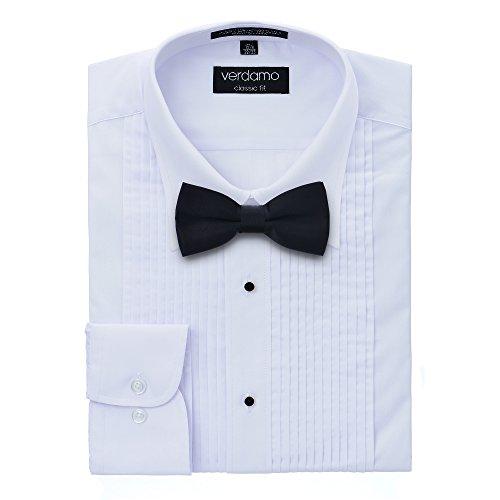 Men's Tuxedo Shirt with Black Bow Tie - Laydown Collar - Medium 32/33
