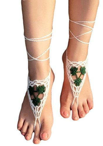 Halife Crochet Black Barefoot Sandals,Beach Pool,Nude shoes,Foot jewelry,Footless sandles,Beach Wedding Jewelry,Yoga Chain,Anklet, Wedding shoes, Beach Wedding, Summer shoes, One Size Fits All (Green)