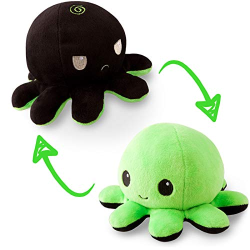 TeeTurtle | The Original Reversible Octopus Plushie | Patented Design | Black and Green | Show your mood without saying a word!