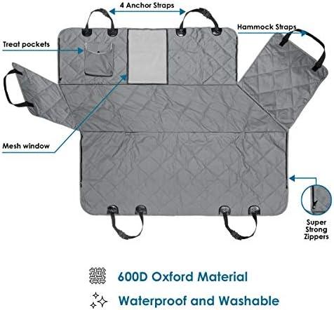PAWBEE cubierta de asiento trasero impermeable para mascotas, antideslizante, a prueba de arañazos – SUV, camioneta, coche, hamaca de mascota, con ventana frontal de malla, resistente, para perros 7