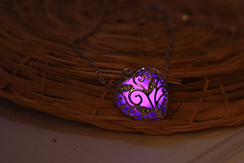 Big Heart Locket Glow in the Dark Necklace Jewelry Pendant Steampunk Fairy Magical (Purple)