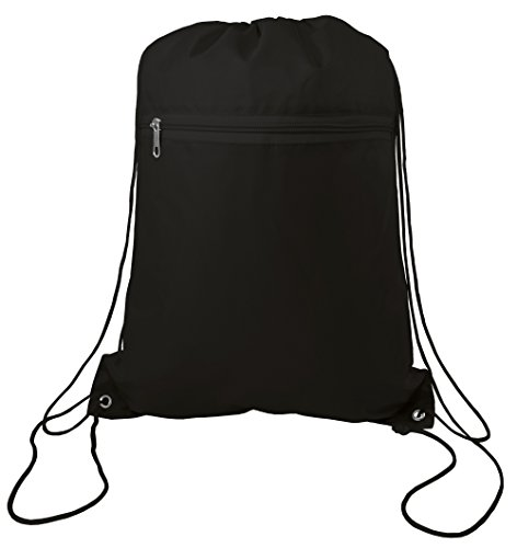 (Drawstring Polyester Backpack with Front Pocket (Single))