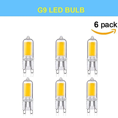 Makergroup 2W G9 LED Light Bulb Compact Size Vintage Style COB LED Filament G9 Lamp 20W G9 Halogen Replacement Cool White Color 6000K CRI>80 120V Not Dimmable 6-Pack