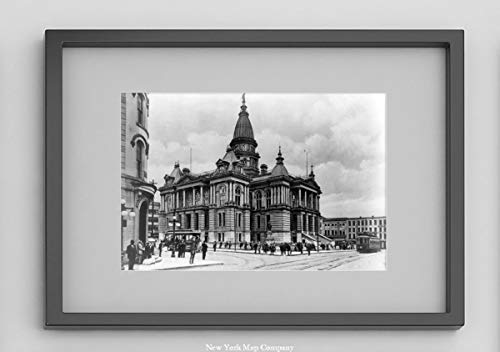 New York Map Company  Lafayette County Court House at Tippecanoe County, Indiana|1890 Photograph Shows Exterior of Courthouse, Busy Downtown Street & streetcars|8x12