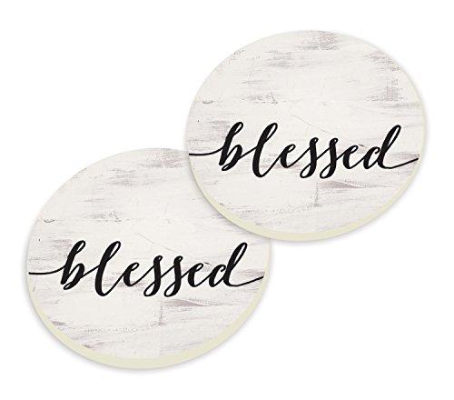 Blessed Script Design White Wash Look Set of 2 Ceramic Car Coaster - Cup Wash Ceramic