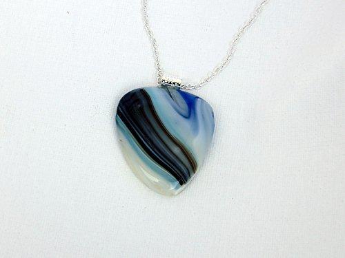 Blue Gray Green Fused Glass Pendant -