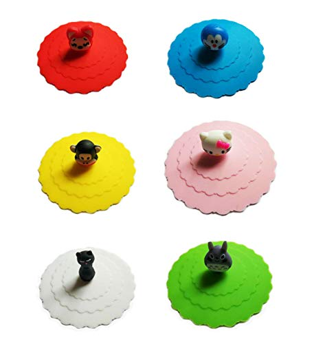 Akak Store 6 PCS New Cute Anti-dust Silicone Glass Cup Cover Coffee Mug Suction Seal Lid Cap ()