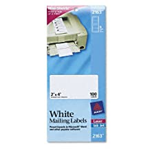Avery Products - Avery - Laser/Inkjet Mailing Labels, Mini-Sheet, Mini-Sheet, 2 x 4, White, 100/Pack - Sold As 1 Pack - Ideal for when you need only a few labels rather than a full sheet. - Permanent self-adhesive labels stick and stay in place. - Designed to feed manually through laser and inkjet printers. - 4 1/4 x 10 sheets. -