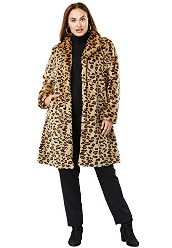 Fur Swing Coat - Jessica London Women's Plus Size Faux Fur Swing Coat - Leopard Print, 20 W