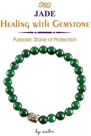 Aatm Reiki - Pulsera natural, energética, con piedras naturales de jade, redondas, de 7-8 mm. Elástica, unisex, para curación (piedra de protección y curación para el riñón, corazón y estómago).