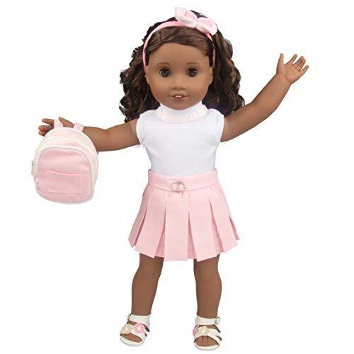 캐주얼교 인형 옷에 대한 미국의 소녀 18 형(5 조각 설정)-옷을 포함 셔츠 스커트 신발 가방 &헤어 밴드